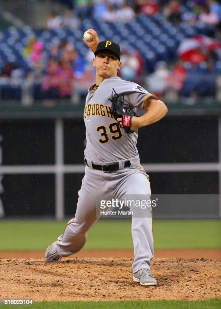 Starting pitcher Chad Kuhl of the Pittsburgh Pirates throws a pitch during a game against the Philadelphia Phillies at Citizens Bank Park on July 6...