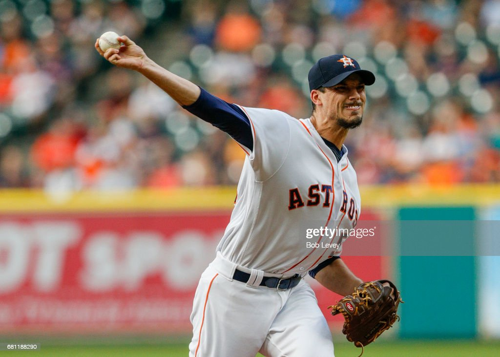 Starting pitcher Charlie Morton #50 of the Houston Astros pitches in the first inning against the Atlanta Braves at Minute Maid Park on May 9, 2017 in Houston, Texas.