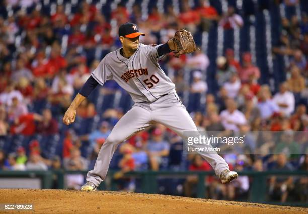 Starting pitcher Charlie Morton of the Houston Astros throws a pitch in the sixth inning during a game against the Philadelphia Phillies at Citizens...