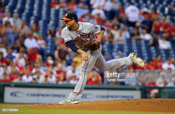 Starting pitcher Charlie Morton of the Houston Astros throws a pitch in the second inning during a game against the Philadelphia Phillies at Citizens...