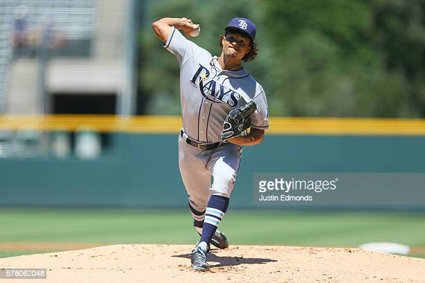 Starting pitcher Chris Archer of the Tampa Bay Rays delivers to home plate during the first inning against the Colorado Rockies at Coors Field on...