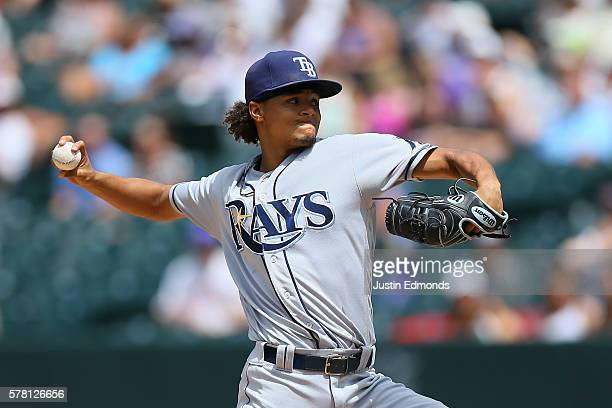 Starting pitcher Chris Archer of the Tampa Bay Rays delivers to home plate during the third inning against the Colorado Rockies at Coors Field on...