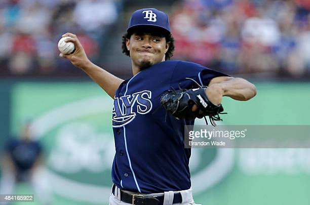 Starting pitcher Chris Archer of the Tampa Bay Rays throws during the first inning of a baseball game against the Texas Rangers at Globe Life Park on...