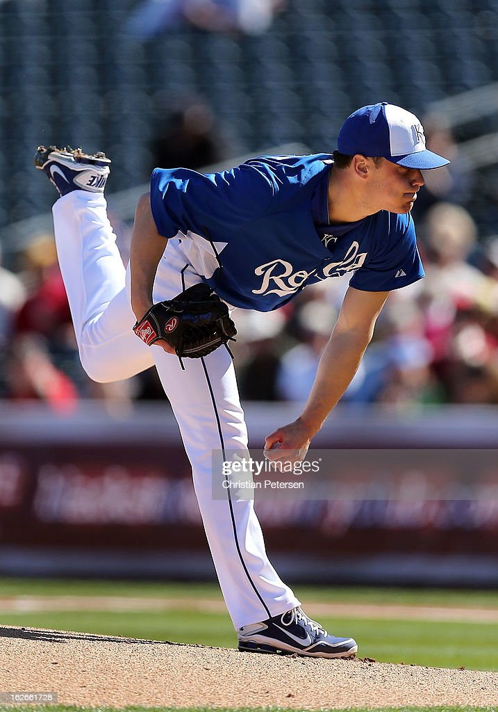 Starting pitcher Chris Dwyer #36 of the Kansas City Royals pitches against the Arizona Diamondbacks during the spring training game at Surprise Stadium on February 25, 2013 in Surprise, Arizona.