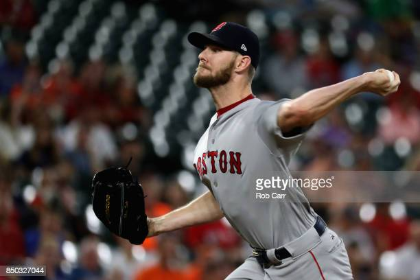 Starting pitcher Chris Sale of the Boston Red Sox throws to a Baltimore Orioles batter in the first inning at Oriole Park at Camden Yards on...