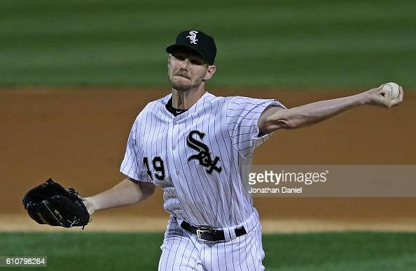 Starting pitcher Chris Sale of the Chicago White Sox deliivers the ball against the Tampa Bay Rays at US Cellular Field on September 27 2016 in...