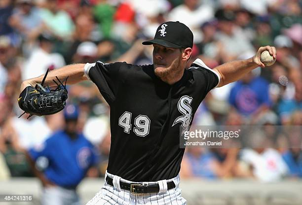Starting pitcher Chris Sale of the Chicago White Sox delivers the ball on his way to 15 strikeouts against the Chicago Cubs at US Cellular Field on...