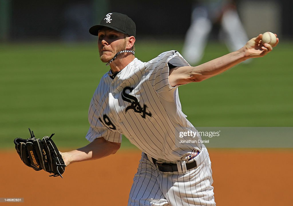 Starting pitcher <a gi-track='captionPersonalityLinkClicked' href=/galleries/search?phrase=Chris+Sale&family=editorial&specificpeople=7132181 ng-click='$event.stopPropagation()'>Chris Sale</a> #49 of the Chicago White Sox delivers the ball against the Houston Astros at U.S. Cellular Field on June 9, 2012 in Chicago, Illinois.