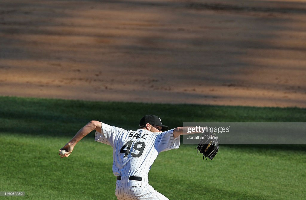 Starting pitcher <a gi-track='captionPersonalityLinkClicked' href=/galleries/search?phrase=Chris+Sale&family=editorial&specificpeople=7132181 ng-click='$event.stopPropagation()'>Chris Sale</a> #49 of the Chicago White Sox delivers the ball against the Houston Astros at U.S. Cellular Field on June 9, 2012 in Chicago, Illinois. The White Sox defeated the Astros 10-1.