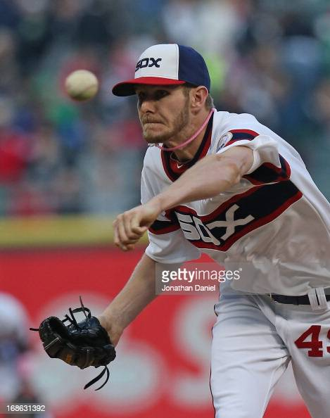 Starting pitcher Chris Sale of the Chicago White Sox delivers the ball against the Los Angeles Angels of Anaheim at US Cellular Field on May 12 2013...