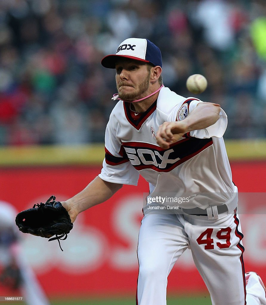 Starting pitcher Chris Sale #49 of the Chicago White Sox delivers the ball against the Los Angeles Angels of Anaheim at U.S. Cellular Field on May 12, 2013 in Chicago, Illinois.