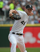 Starting pitcher Chris Sale of the Chicago White Sox delivers the ball against the Minnesota Twins at US Cellular Field on April 12 2015 in Chicago...