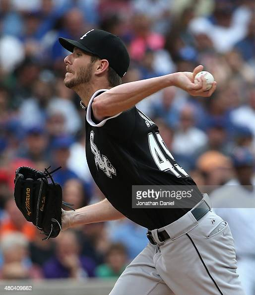 Starting pitcher Chris Sale of the Chicago White Sox delivers the ball against the Chicago Cubs at Wrigley Field on July 11 2015 in Chicago Illinois