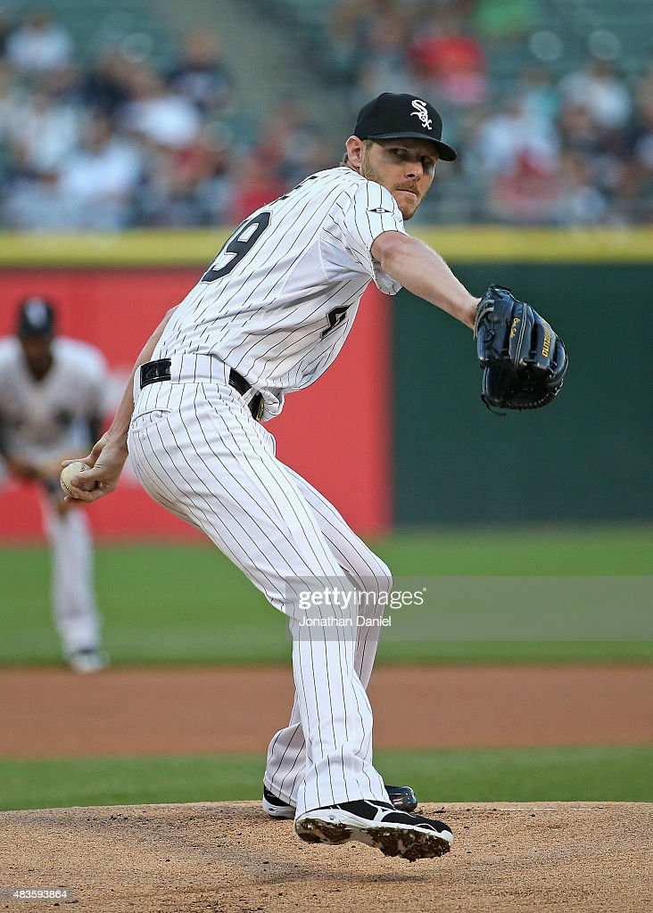 Starting pitcher Chris Sale of the Chicago White Sox delivers the ball against the Los Angeles Angels at US Cellular Field on August 10 2015 in...