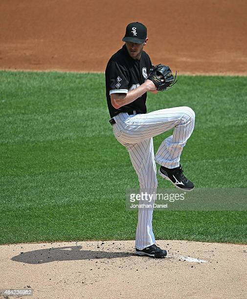 Starting pitcher Chris Sale of the Chicago White Sox delivers the ball against the Chicago Cubs at US Cellular Field on August 16 2015 in Chicago...