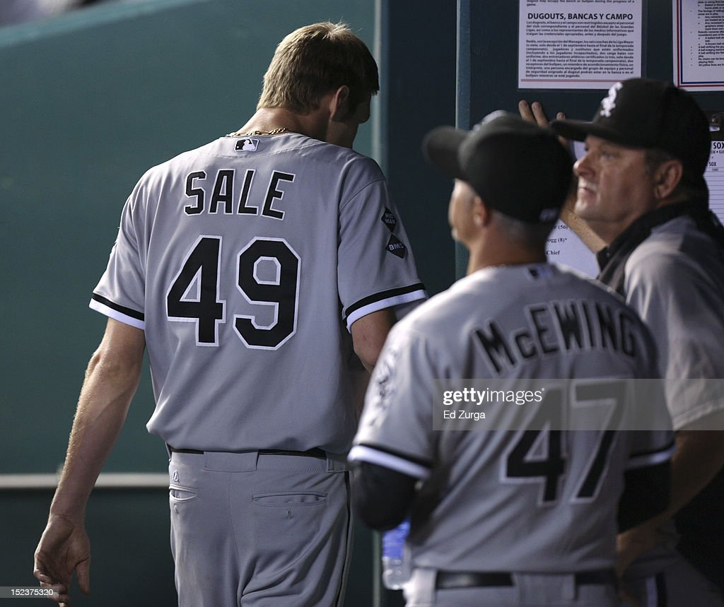 Starting pitcher <a gi-track='captionPersonalityLinkClicked' href=/galleries/search?phrase=Chris+Sale&family=editorial&specificpeople=7132181 ng-click='$event.stopPropagation()'>Chris Sale</a> #49 of the Chicago White Sox heads to the team clubhouse after pitching against the Kansas City Royals in the seventh inning at Kauffman Stadium on September 19, 2012 in Kansas City, Missouri. The Royals won 3-0.