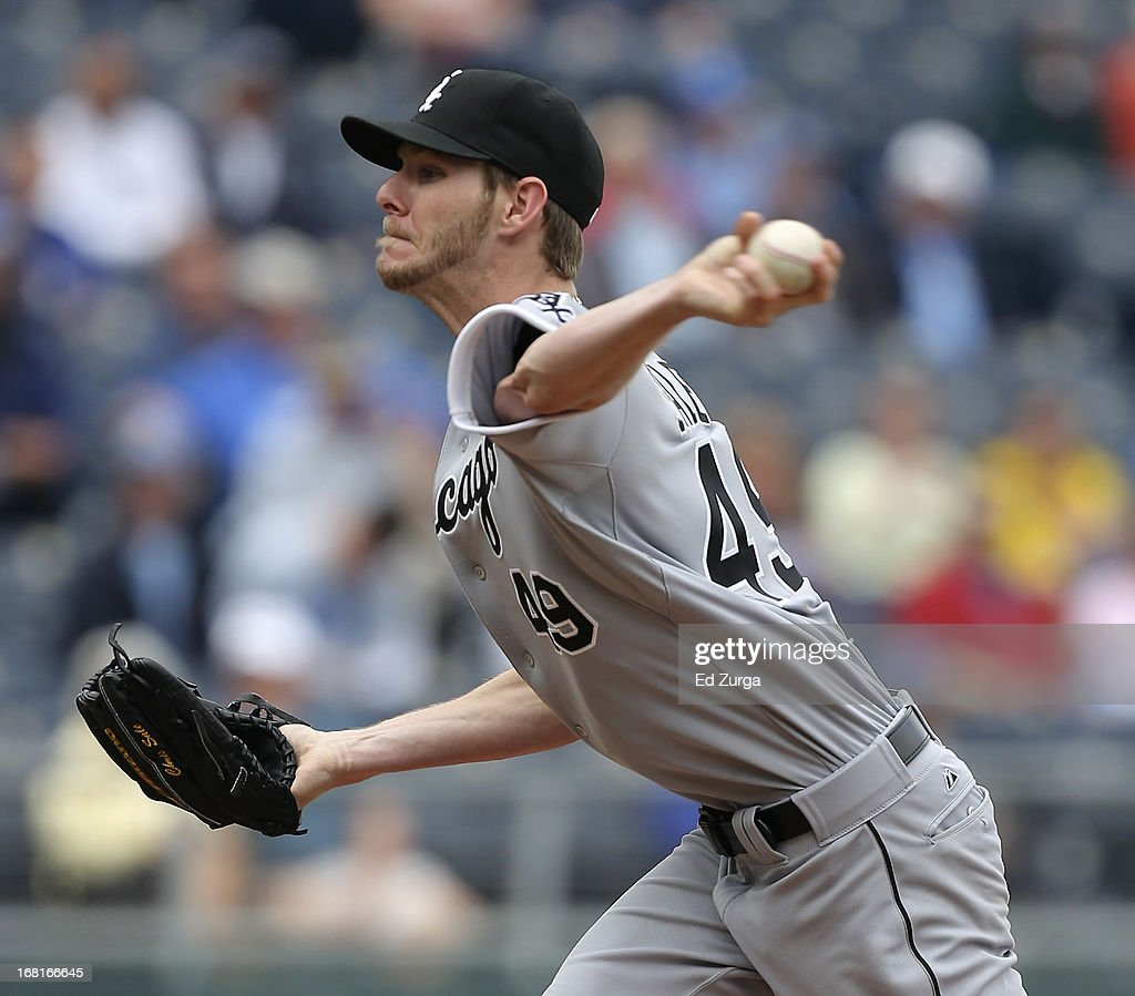 Starting pitcher Chris Sale #49 of the Chicago White Sox pitches against the Kansas City Royals in the first inning at Kauffman Stadium on May 6, 2013 in Kansas City, Missouri.