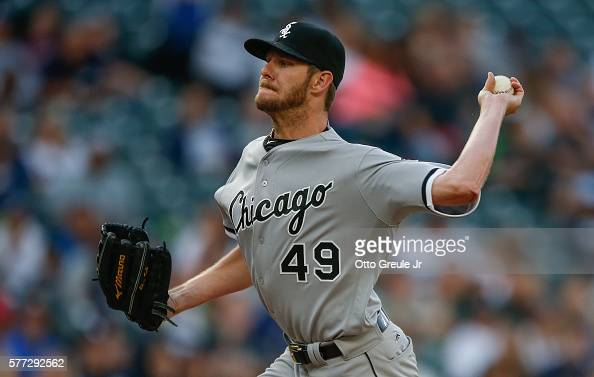 Starting pitcher Chris Sale of the Chicago White Sox pitches against the Seattle Mariners in the first inning at Safeco Field on July 18 2016 in...