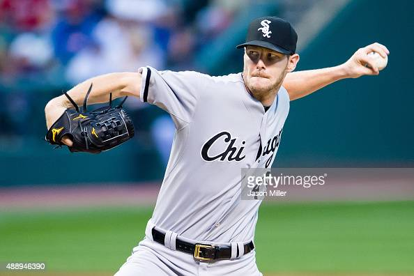 Starting pitcher Chris Sale of the Chicago White Sox pitches during the first inning against the Cleveland Indians at Progressive Field on September...