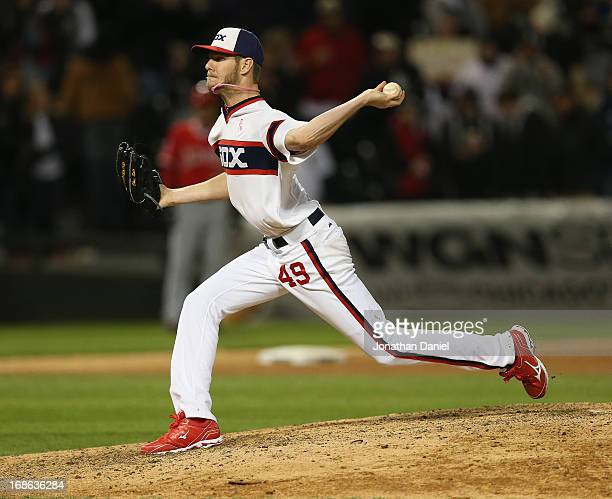Starting pitcher Chris Sale of the Chicago White Sox pitches in the 9th inning on his way to a onehit shutout of the Los Angeles Angels of Anaheim at...