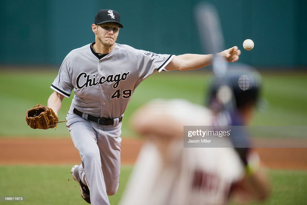 Starting pitcher <a gi-track='captionPersonalityLinkClicked' href=/galleries/search?phrase=Chris+Sale&family=editorial&specificpeople=7132181 ng-click='$event.stopPropagation()'>Chris Sale</a> #49 of the Chicago White Sox pitches to <a gi-track='captionPersonalityLinkClicked' href=/galleries/search?phrase=Asdrubal+Cabrera&family=editorial&specificpeople=834042 ng-click='$event.stopPropagation()'>Asdrubal Cabrera</a> #13 of the Cleveland Indians during the first inning against the Cleveland Indians at Progressive Field on April 13, 2013 in Cleveland, Ohio.