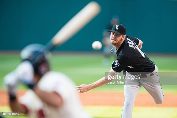 Starting pitcher Chris Sale of the Chicago White Sox pitches to Michael Brantley of the Cleveland Indians during the first inning against the...