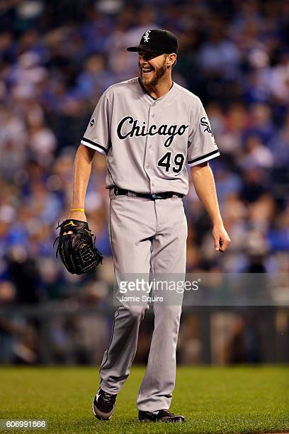 Starting pitcher Chris Sale of the Chicago White Sox reacts during the game against the Kansas City Royals at Kauffman Stadium on September 16 2016...