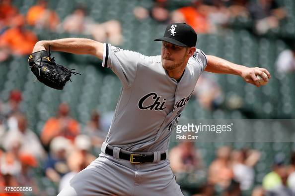 Starting pitcher Chris Sale of the Chicago White Sox throws to a Baltimore Orioles batter in the seventh inning of the White Sox 32 win over the...