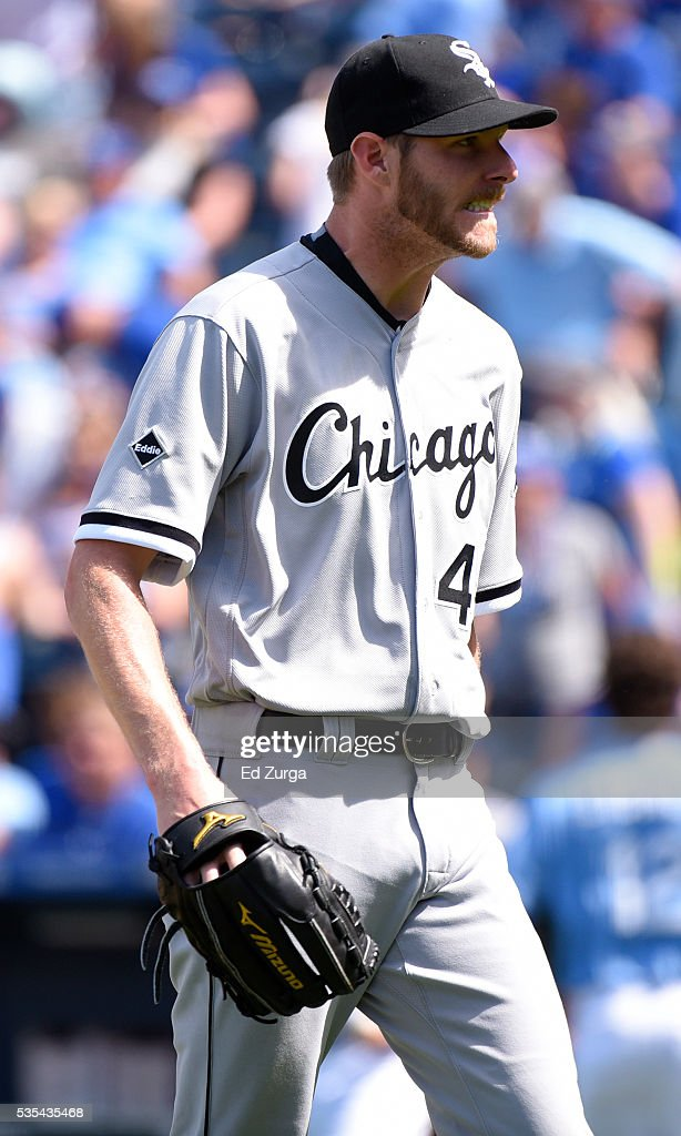 Starting pitcher Chris Sale #49 of the Chicago White Sox walks off the field after pitching to the Kansas City Royals in the seventh inning at Kauffman Stadium on May 29, 2016 in Kansas City, Missouri.