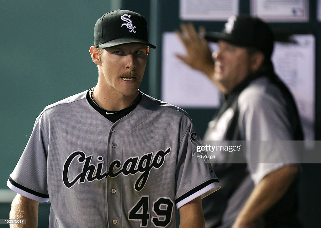Starting pitcher <a gi-track='captionPersonalityLinkClicked' href=/galleries/search?phrase=Chris+Sale&family=editorial&specificpeople=7132181 ng-click='$event.stopPropagation()'>Chris Sale</a> #49 of the Chicago White Sox walks through the dugout after being taken out of game against the Kansas City Royals in the seventh inning at Kauffman Stadium on September 19, 2012 in Kansas City, Missouri.