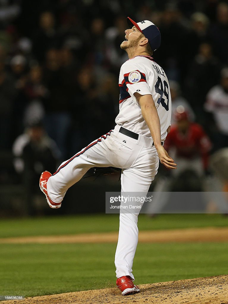 Starting pitcher <a gi-track='captionPersonalityLinkClicked' href=/galleries/search?phrase=Chris+Sale&family=editorial&specificpeople=7132181 ng-click='$event.stopPropagation()'>Chris Sale</a> #49 of the Chicago White Sox watches the final out of the game, a fly ball, on his way to a one-hit shutout of the Los Angeles Angels of Anaheim at U.S. Cellular Field on May 12, 2013 in Chicago, Illinois. The White Sox defeated the Angels 3-0.