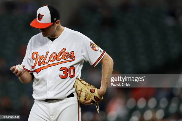 Starting pitcher Chris Tillman of the Baltimore Orioles looks at the baseball during the third inning against the New York Yankees at Oriole Park at...