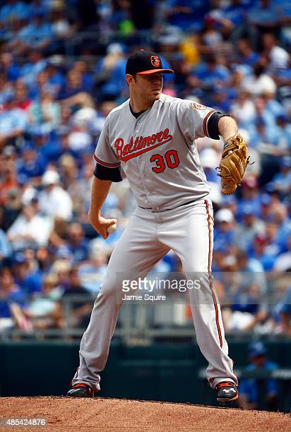Starting pitcher Chris Tillman of the Baltimore Orioles pitches during the game against the Kansas City Royals at Kauffman Stadium on August 27 2015...