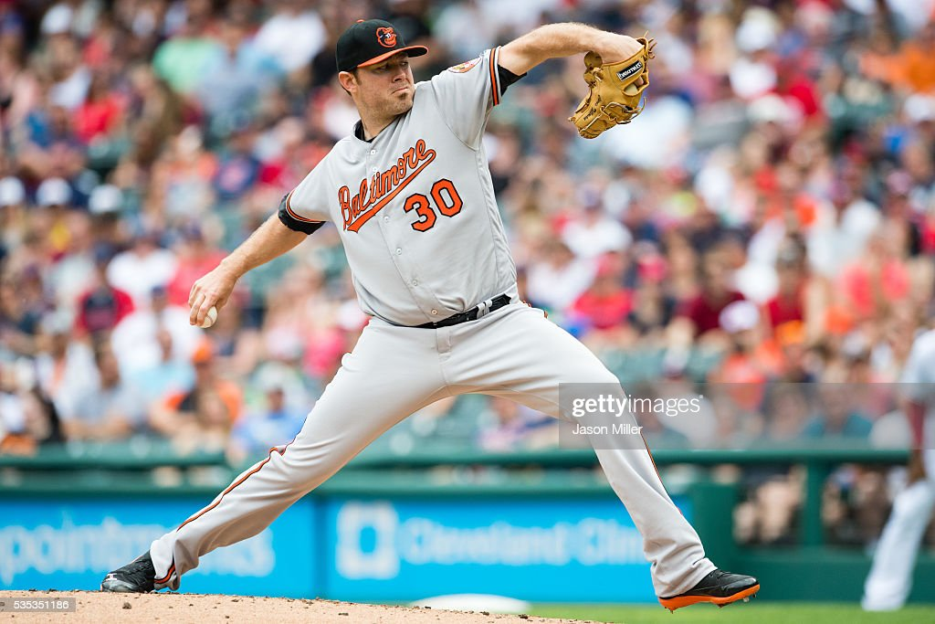 Starting pitcher <a gi-track='captionPersonalityLinkClicked' href=/galleries/search?phrase=Chris+Tillman&family=editorial&specificpeople=713179 ng-click='$event.stopPropagation()'>Chris Tillman</a> #30 of the Baltimore Orioles pitches during the first inning against the Cleveland Indians at Progressive Field on May 29, 2016 in Cleveland, Ohio.