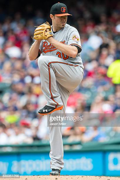 Starting pitcher Chris Tillman of the Baltimore Orioles pitches during the first inning against the Cleveland Indians at Progressive Field on May 29...