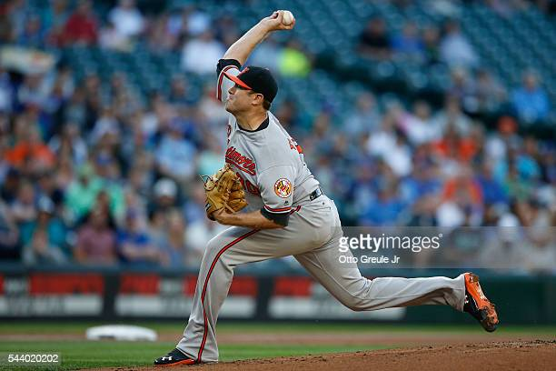 Starting pitcher Chris Tillman of the Baltimore Orioles pitches against the Seattle Mariners in the first inning at Safeco Field on June 30 2016 in...
