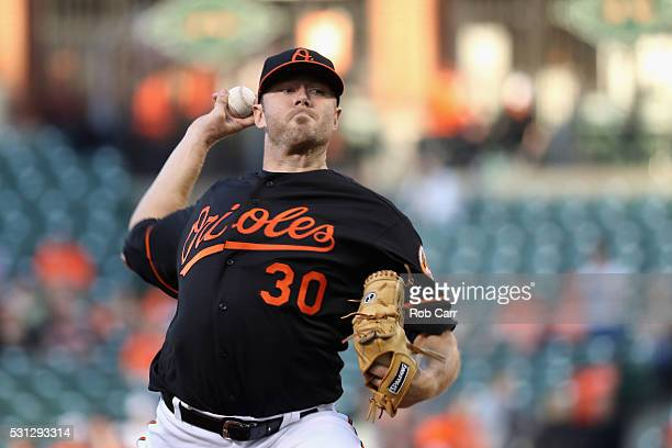 Starting pitcher Chris Tillman of the Baltimore Orioles throws to a Detroit Tigers batter in the first inning at Oriole Park at Camden Yards on May...