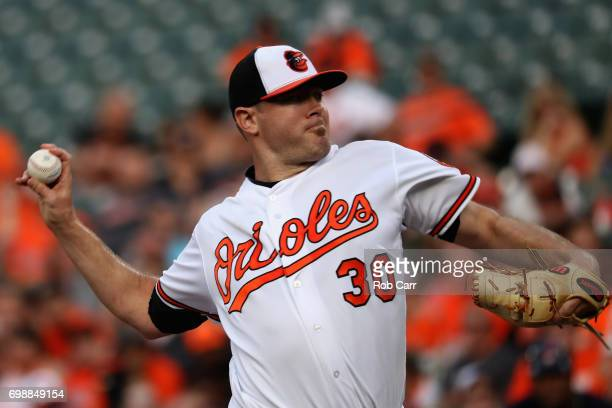 Starting pitcher Chris Tillman of the Baltimore Orioles throws to a Cleveland Indians batter in the first inning at Oriole Park at Camden Yards on...