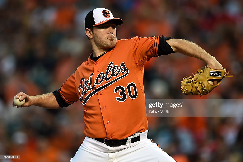 Starting pitcher <a gi-track='captionPersonalityLinkClicked' href=/galleries/search?phrase=Chris+Tillman&family=editorial&specificpeople=713179 ng-click='$event.stopPropagation()'>Chris Tillman</a> #30 of the Baltimore Orioles works the first inning against the Minnesota Twins at Oriole Park at Camden Yards on August 30, 2014 in Baltimore, Maryland.