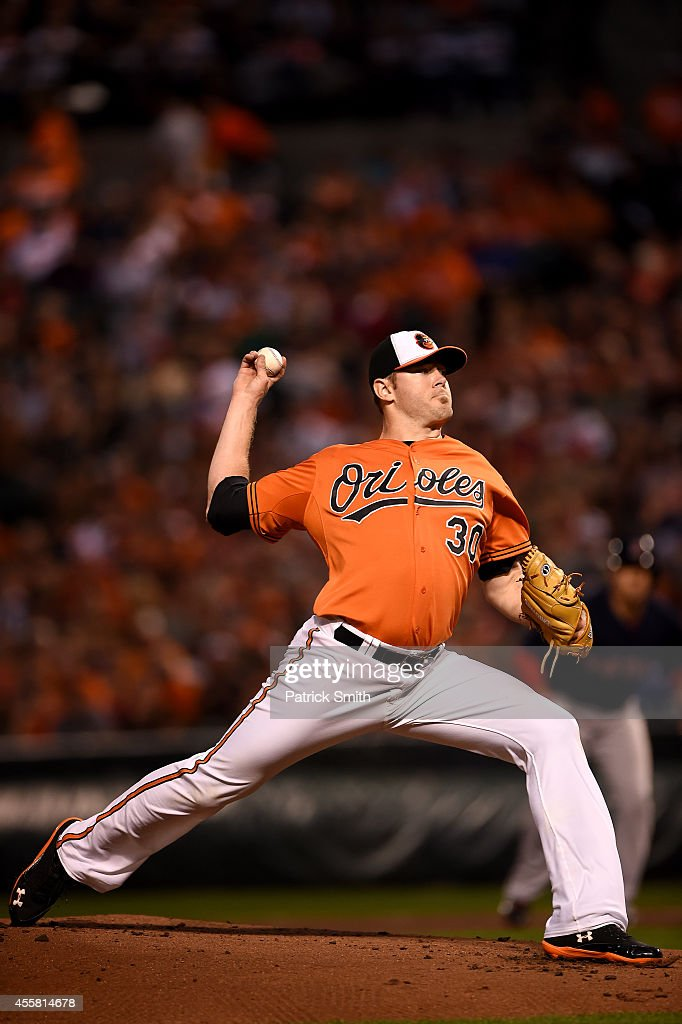 Starting pitcher <a gi-track='captionPersonalityLinkClicked' href=/galleries/search?phrase=Chris+Tillman&family=editorial&specificpeople=713179 ng-click='$event.stopPropagation()'>Chris Tillman</a> #30 of the Baltimore Orioles works the first inning against the Boston Red Sox at Oriole Park at Camden Yards on September 20, 2014 in Baltimore, Maryland.