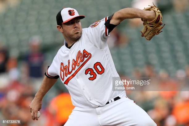 Starting pitcher Chris Tillman of the Baltimore Orioles works the first inning against the Texas Rangers at Oriole Park at Camden Yards on July 17...