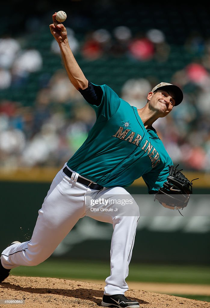 Starting pitcher <a gi-track='captionPersonalityLinkClicked' href=/galleries/search?phrase=Chris+Young+-+Baseball+Player+-+Pitcher&family=editorial&specificpeople=7829007 ng-click='$event.stopPropagation()'>Chris Young</a> #53 of the Seattle Mariners pitches in the sixth inning against the Los Angeles Angels of Anaheim at Safeco Field on May 26, 2014 in Seattle, Washington.