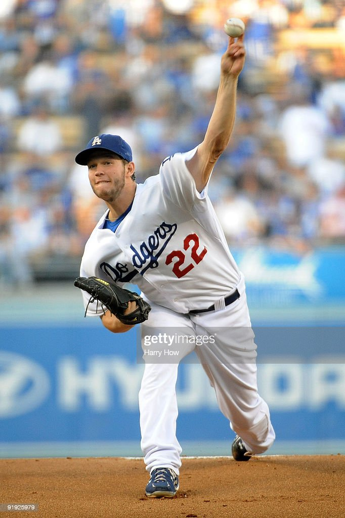 Starting pitcher Clayton Kershaw of the Los Angeles Dodgers delivers a pitch in the first inning of Game One of the NLCS against the Philadelphia...
