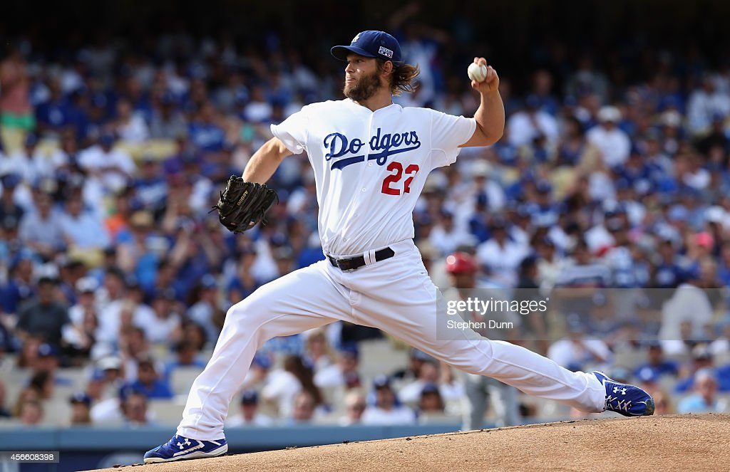 Starting pitcher Clayton Kershaw of the Los Angeles Dodgers throws in the first inning of Game One of the National League Division Series against the...
