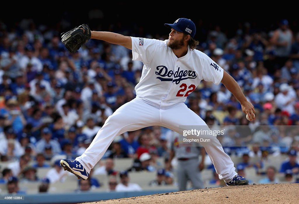 Starting pitcher Clayton Kershaw of the Los Angeles Dodgers throws against the St Louis Cardinals in Game One of the National League Division Series...