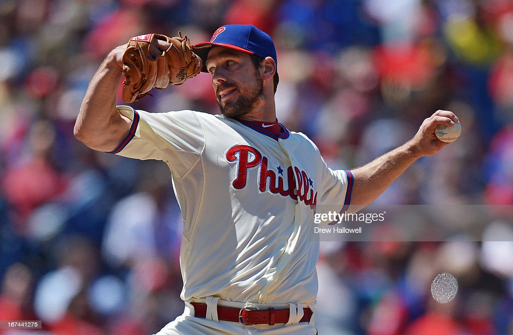 Starting pitcher <a gi-track='captionPersonalityLinkClicked' href=/galleries/search?phrase=Cliff+Lee&family=editorial&specificpeople=218092 ng-click='$event.stopPropagation()'>Cliff Lee</a> #33 of the Philadelphia Phillies delivers a pitch in the third inning during the game against the Pittsburgh Pirates at Citizens Bank Park on April 25, 2013 in Philadelphia, Pennsylvania.