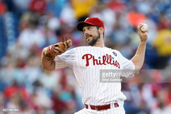 Starting pitcher Cliff Lee of the Philadelphia Phillies throws a pitch in the first inning of the game against the Arizona Diamondbacks at Citizens...
