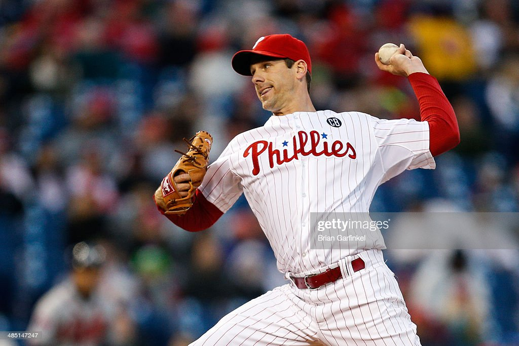 Starting pitcher <a gi-track='captionPersonalityLinkClicked' href=/galleries/search?phrase=Cliff+Lee&family=editorial&specificpeople=218092 ng-click='$event.stopPropagation()'>Cliff Lee</a> of the Philadelphia Phillies throws a pitch in the second inning of the game against the Atlanta Braves at Citizens Bank Park on April 16, 2014 in Philadelphia, Pennsylvania. All uniformed team members are wearing jersey number 42 in honor of Jackie Robinson Day.