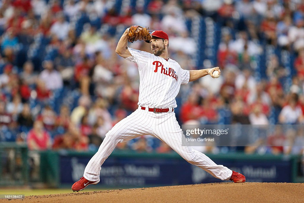 Starting pitcher <a gi-track='captionPersonalityLinkClicked' href=/galleries/search?phrase=Cliff+Lee&family=editorial&specificpeople=218092 ng-click='$event.stopPropagation()'>Cliff Lee</a> #33 of the Philadelphia Phillies throws a pitch during the game against the Colorado Rockies at Citizens Bank Park on September 7, 2012 in Philadelphia, Pennsylvania. The Phillies won 3-2.