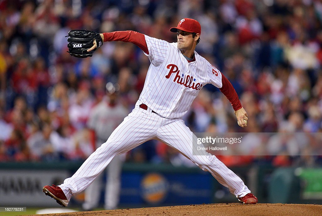 Starting pitcher <a gi-track='captionPersonalityLinkClicked' href=/galleries/search?phrase=Cole+Hamels&family=editorial&specificpeople=565675 ng-click='$event.stopPropagation()'>Cole Hamels</a> #35 of the Philadelphia Phillies delivers a pitch during the game against the Washington Nationals at Citizens Bank Park on September 25, 2012 in Philadelphia, Pennsylvania.